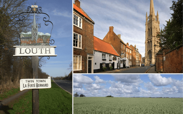 This image displays the Louth Street Sign, the local pub and cathedral and a view of the countryside